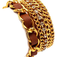 Brown Faux Leather Chain Bracelet