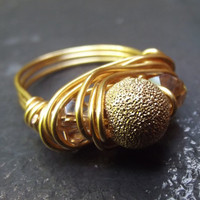 Gold Wire Wrapped Ring  Light Citrine Crystal by SherryKayDesigns