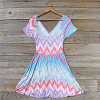Blue Arrow Chevron Dress, Sweet Women's Bohemian Clothing