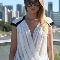 White Sleeveless Draped V-Neck Top with Black Trim