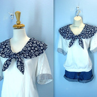 70s Handkerchief Blouse / Eyelet Sailor Shirt / Picnic Blouse