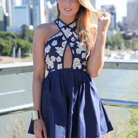 Navy and Beige Floral Print Cutout Crossover Dress