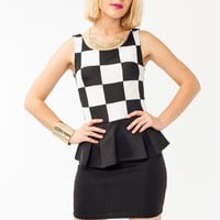 checkered-peplum-dress BLACKWHITE - GoJane.com