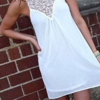 White Shift Dress with Victorian Lace Neckline