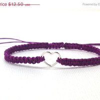On Sale Heart Bracelet, Purple, Macrame, Sterling Silver