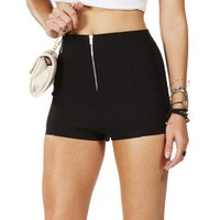 Black High Waisted Zip Front Shorts
