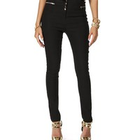 Black Side Zip Skinny Pants