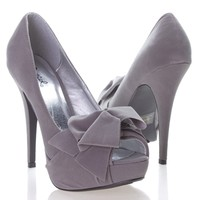 Qupid Women's Open Peen Toe Bow Platform High Heel Stiletto Pump Shoes, Gray Faux Suede