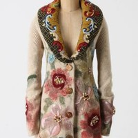 Handpainted Poppies Sweatercoat - Anthropologie.com