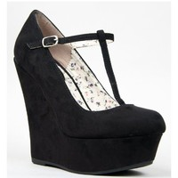 Breckelle's CILO-15 Mary Jane T-Strap Platform Wedge Heel Pump