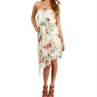 Ivory/Coral Asymmetric Floral Dress