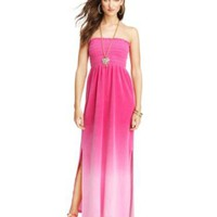 Ombre Strapless Velour Maxi Dress