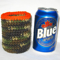 Gifts for Dad Hunter Camo and Orange (or Pink) Can Cozy Beer Soda Pop