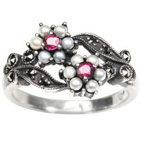 Gemini Silver Natural Seed Pearl Ring, Ruby - Dahlia Vintage Collection