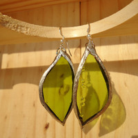 Wine Bottle Stained Glass Green Leaf  Earrings