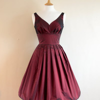 Burgundy Taffeta Prom Dress - Made to Measure