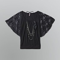 Bongo- -Junior's Dolman Sleeve Necklace Top-Clothing-Juniors-Tops