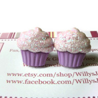 Cupcake Stud Earrings, Purple, Acrylic, Surgical Steel Posts