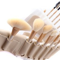 BOSTON WORLD 18 PCS Peach Color Makeup Brush Set With Free High Quality Tan Color Pouch:Amazon:Everything Else