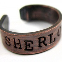 Sherlocked - Hand Stamped Rustic Copper Ring Sherlock Holmes Inspired | foxwise - Jewelry on ArtFire