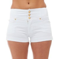 Classic Designs Juniors High Waisted 5 Pocket Stretch Cotton Short Shorts:Amazon:Clothing