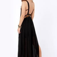 Stitch-y Woman Black Maxi Dress