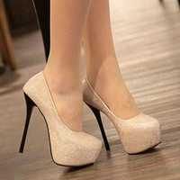 elegant sexy Shiny Waterproof Superfine high heeled shoes