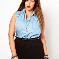 New Look Inspire Peter Pan Sleeveless Denim Shirt at asos.com