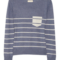 Band of Outsiders | Striped boat-neck silk and cashmere-blend sweater | NET-A-PORTER.COM