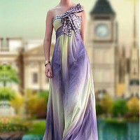 [183.19] In Stock Elegant A-line Strapless Beaded Raised Waist Ruched Bodice Sleeveless Floor Length Prom Dress  - Dressilyme.com