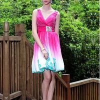 [129.99] In Stock Fantastic Tencel Chiffon V Neckline Short Prom Dress  - Dressilyme.com