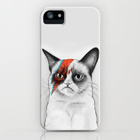 Grumpy Cat as Ziggy Stardust David Bowie iPhone & iPod Case by Olechka