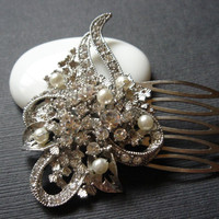 Olivia Ornate Art Deco Vintage Style Flowal Bouquet Pearl Bridal Hair Comb - Hair Jewelry