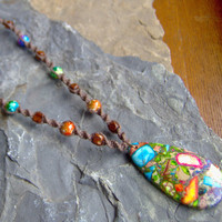 Hemp Necklace  Colorful Stone  Beaded Hemp by KnottyandNiceHemp