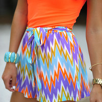 Electrify Me Chevron Shorts: Multi | Hope's