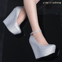 wishlove — [grdxyxh319062]Sweet glitter powder sexy wedge heels high heels shoes