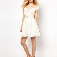 Lydia Bright Prom Dress with Wrap Front and Lace Trim
