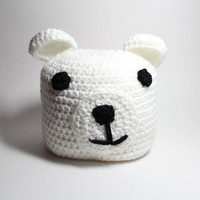 Polar bear Childrens beanie-Crocheted Kids Animal Hat- White Winter Kids Beanie.