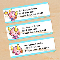 Pink Dragon Address Labels Printable, DIY File