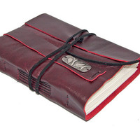 Deep Cherry Red Leather Journal with Bookmark