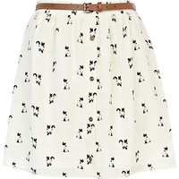 Cream cat print belted button down skirt - mini skirts - skirts - women