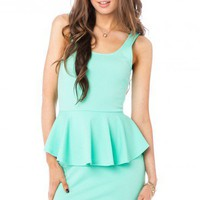 Alicia Peplum Dress in Mint - ShopSosie.com