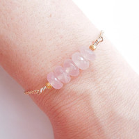 Rose Quartz Bracelet in Gold