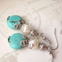 Boho jewelry, Turquoise Earrings, Pearl Earrings, Dainty Dangles,  Vintage Style, Bridesmaid gift, bridesmaid jewelry, Beach wedding