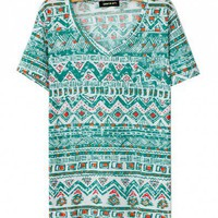 V-neckline T-shirt with Aztec Print