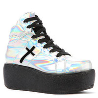 UNIF Sneaker Cross Trainer Platform in Rainbow Silver
