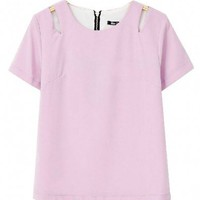 Purple Color Chiffon T-shirt with Cut Out Shoulders