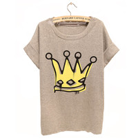Big Royal Crown Watercolor Tshirt For Her