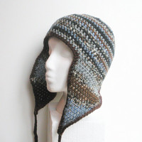 Unisex crochet  beanie with long earflaps in variegated blues and browns, ready to ship.