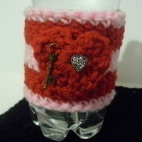 Crochet Coffee Cup/Water Bottle/Beer Can/Soda Can/ Cozy~Pink & Red Colors